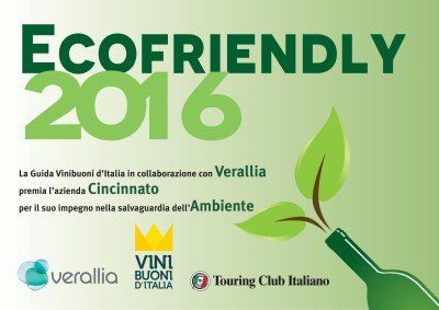 Diploma Ecofriendly 2016 - Cincinnato